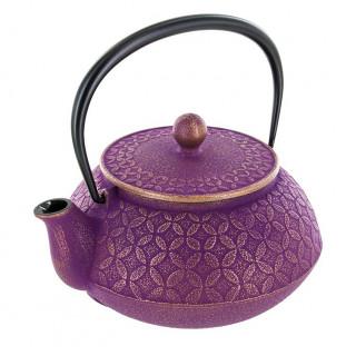Théière 7 tresors 0,6L - fonte japonaise - violette et dorée - Iwachu - Aromandise - produit vue 2