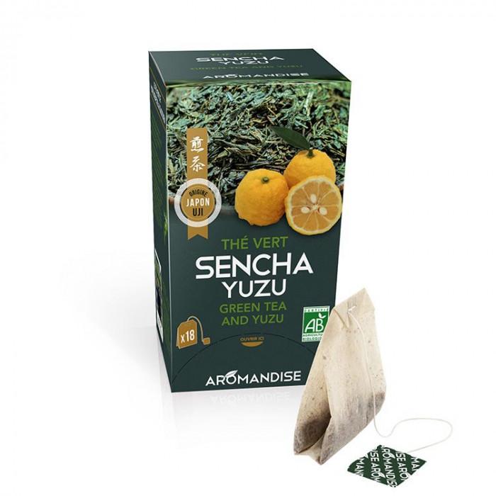 Thé vert Sencha et Yuzu en infusettes - face - AROMANDISE