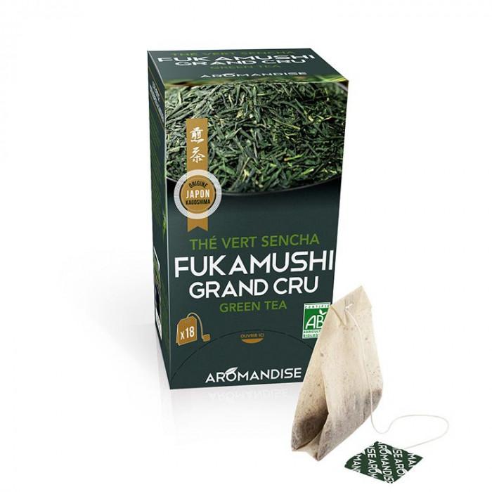 Thé vert Fukamushi Sencha Grand Cru en infusettes - face -aromandise