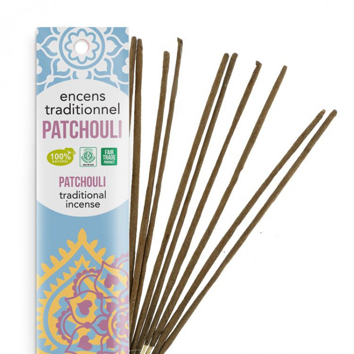 Encens Indien Haute Tradition - Patchouli tendre - Les Encens du monde - Aromandise - packaging
