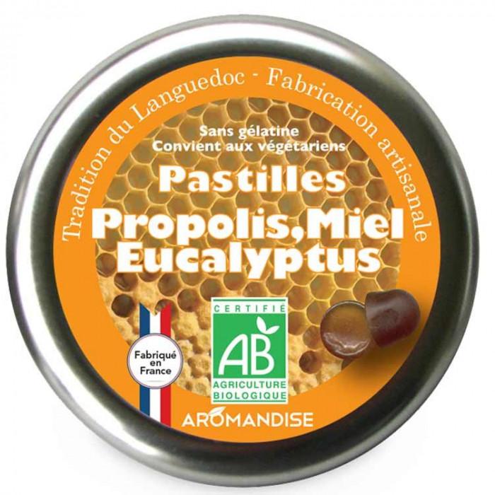 Pastilles à la propolis, miel et eucalyptus - face - Aromandise