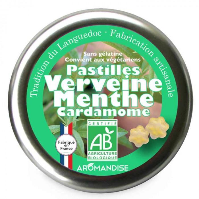 Pastilles verveine menthe cardamome - Confiserie du Languedoc - face - Aromandise