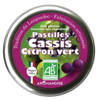 Pastilles cassis citron vert - Confiserie du languedoc - Aromandise - face